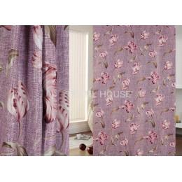 Ткань для штор димаут Букет цветов фиолетовый