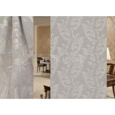 Ткань для штор блэкаут лен на отрез беж завиток