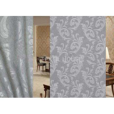 Ткань для штор на отрез блэкаут лен серый завиток