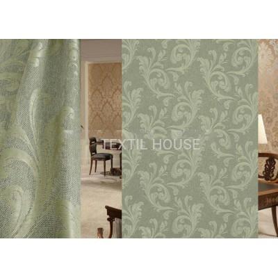 Ткань для штор на отрез лен блэкаут зеленый завиток