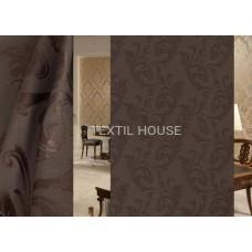 Ткань для штор на отрез блэкаут лен шоколадный завиток