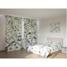 ФотоКомплект Доллары покрывало и шторы