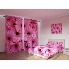 ФотоКомплект Герберы розовые покрывало и шторы