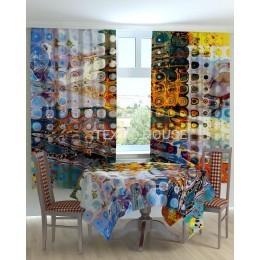 Фотошторы и скатерть на кухню  Абстракция