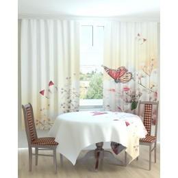 Фотошторы и скатерть на кухню Бабочки на белых цветах