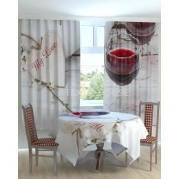 Фотошторы и скатерть на кухню Бокал вина