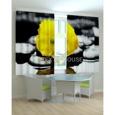 Фотошторы и скатерть на кухню Цветок желтый