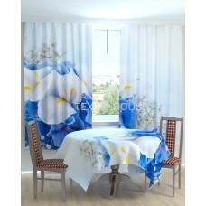 Фотошторы и скатерть на кухню  Бело-голубые цветы