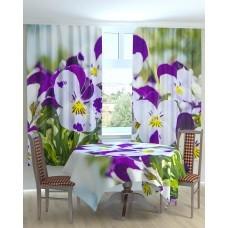 Фотошторы и скатерть на кухню  Бело-фиолетовые цветы