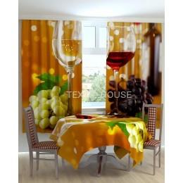 Фотошторы и скатерть на кухню  Виноград с сыром