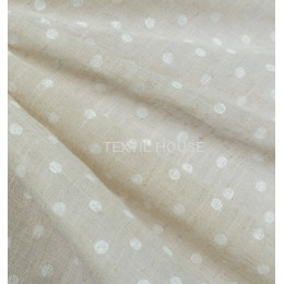Тюль лен белый горошек бежевый фон