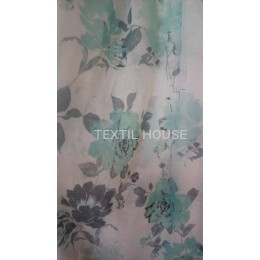 Тюль батист цветы бирюза/серые