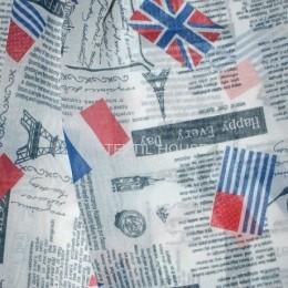 Тюль Лен декор принт газета