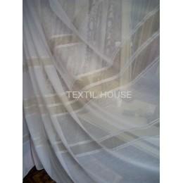 Тюль Батист белый с золотистыми полосами