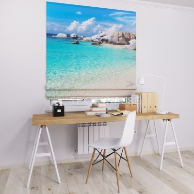 Римская штора  с фотопечатью Райский пляж