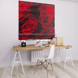 Римская штора  блэкаут с фотопечатью Бутоны роз