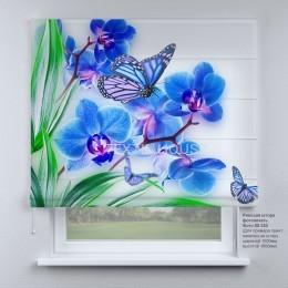 Римская штора Бабочки и орхидеи