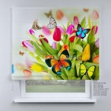 Римская штора Бабочки и тюльпаны