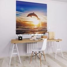 Римская штора  с фотопечатью Дельфин
