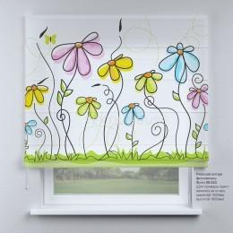 Римская штора Рисунок цветы