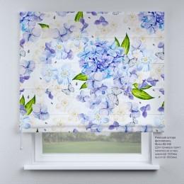 Римская штора  Голубые цветы