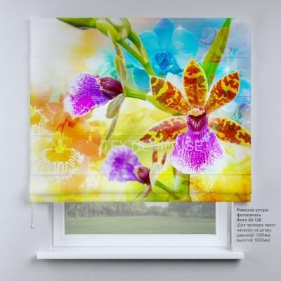 Римская штора  Тропические цветы