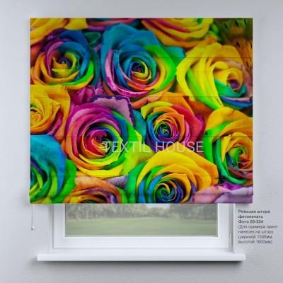 Римская штора  Разноцветные розы