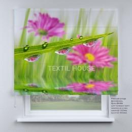 Римская штора Роса и цветы