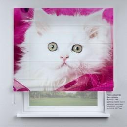 Римская штора Белый котенок