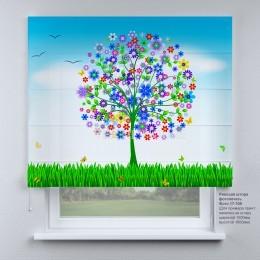 Римская штора  Весеннее дерево