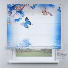 Римская штора  Бабочки и синие цветы