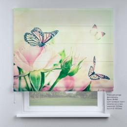 Римская штора Бабочки и розы