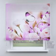 Римская штора Бабочки и розовые розы