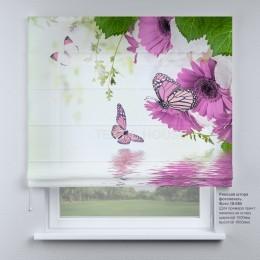 Римская штора  Бабочки и сиреневые цветы