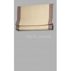 Римская штора из однотонной ткани лен с вставками другого цвета ширина 50 см