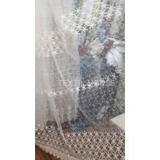 Тюль с  вышивкой цветочной кремовая
