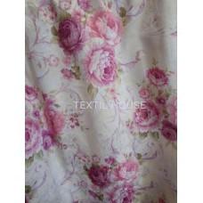 Штора принт жаккард Розарий сиренево-розовый ш. 150 см