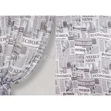 Тюль принт газета черно-белая