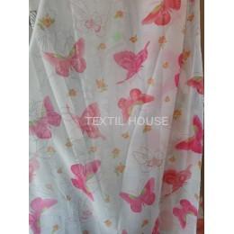 Тюль бабочки розовые